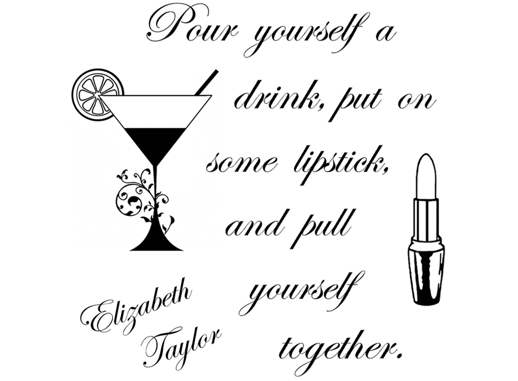 "Pour yourself a drink  3-5/8""  Black #475 Fused Glass Decals"