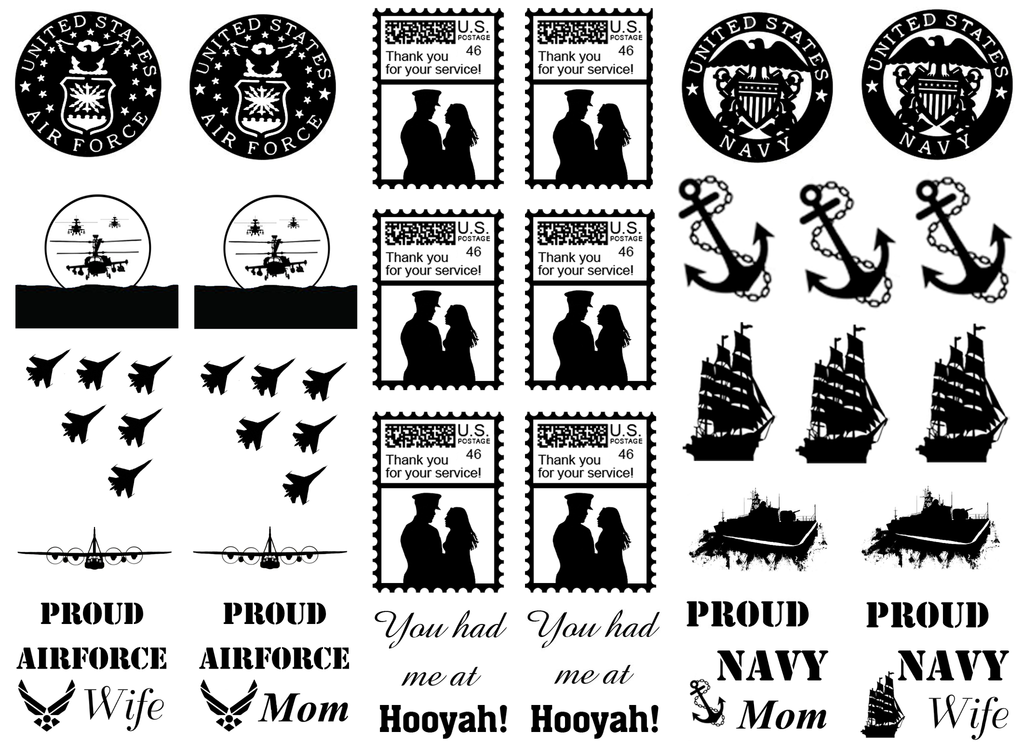 "Military Air Force & Navy 1"" to 1-1/4"" Black  Fused Glass Decals"