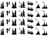 "Space Cities 1"" to 1-1/8""  Black #502 Fused Glass Decals"