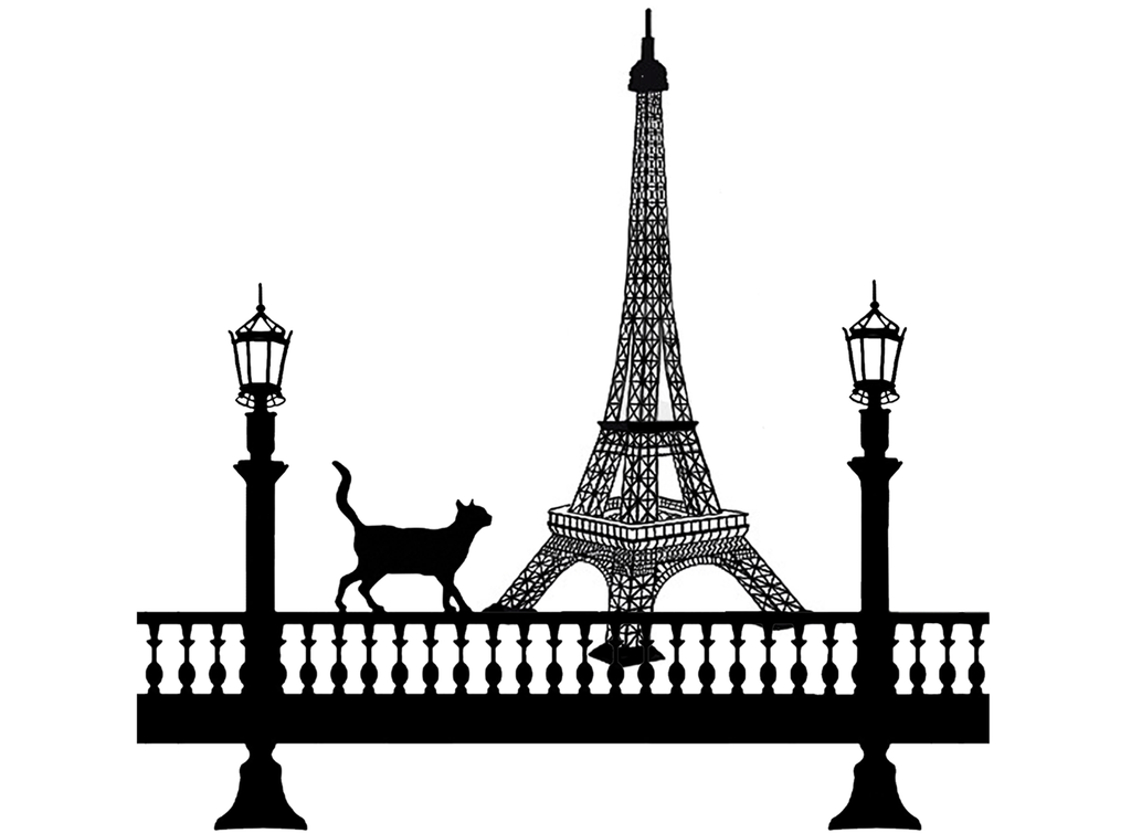 "Paris Cat  4"" Black #503 Fused Glass Decal"