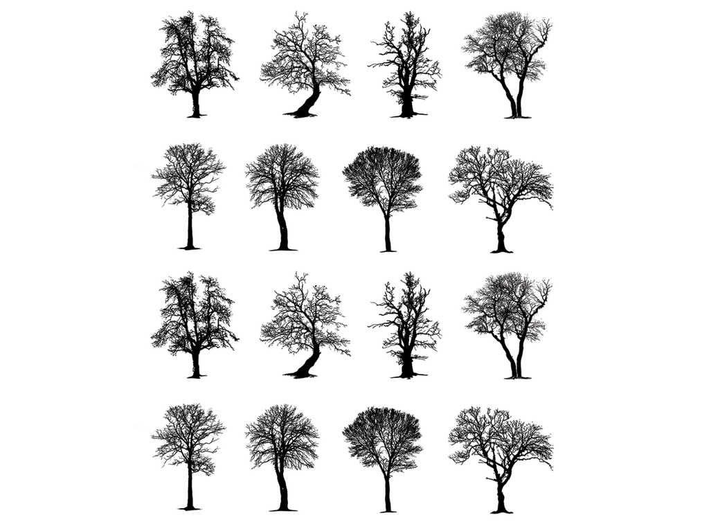 "Trees  16 pcs  3/4""  Black #511  Fused Glass Decals"