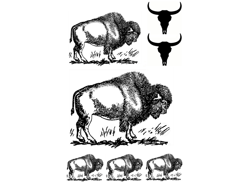 "Bison Set 1"" to 3""  Black #512 or White #619 Fused Glass Decals"