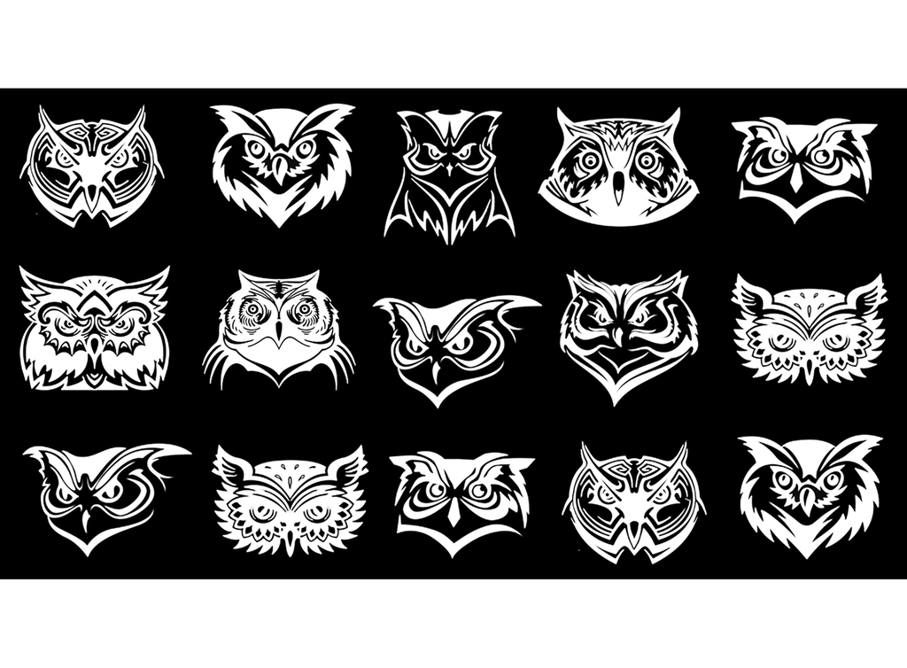 Owl Faces White #528 Fused Glass Decals