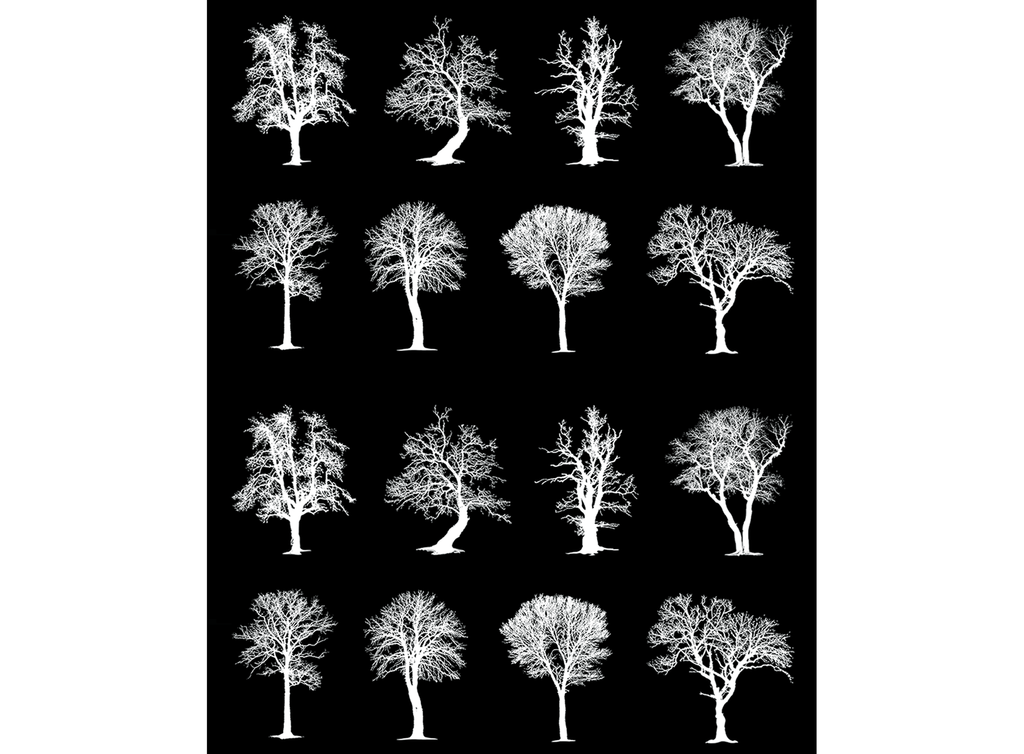 "Trees 16 pcs  3/4""  White #529 Fused Glass Decals"