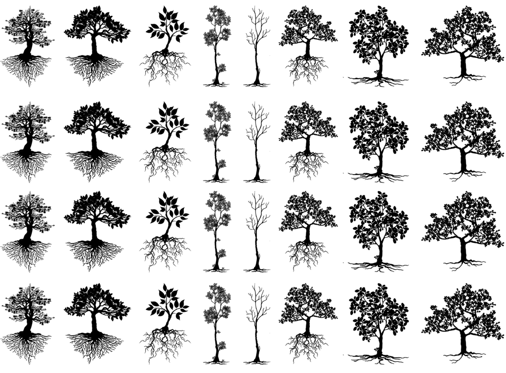 "Trees  1"" to 1-1/8""   Black #535  Fused Glass Decals"