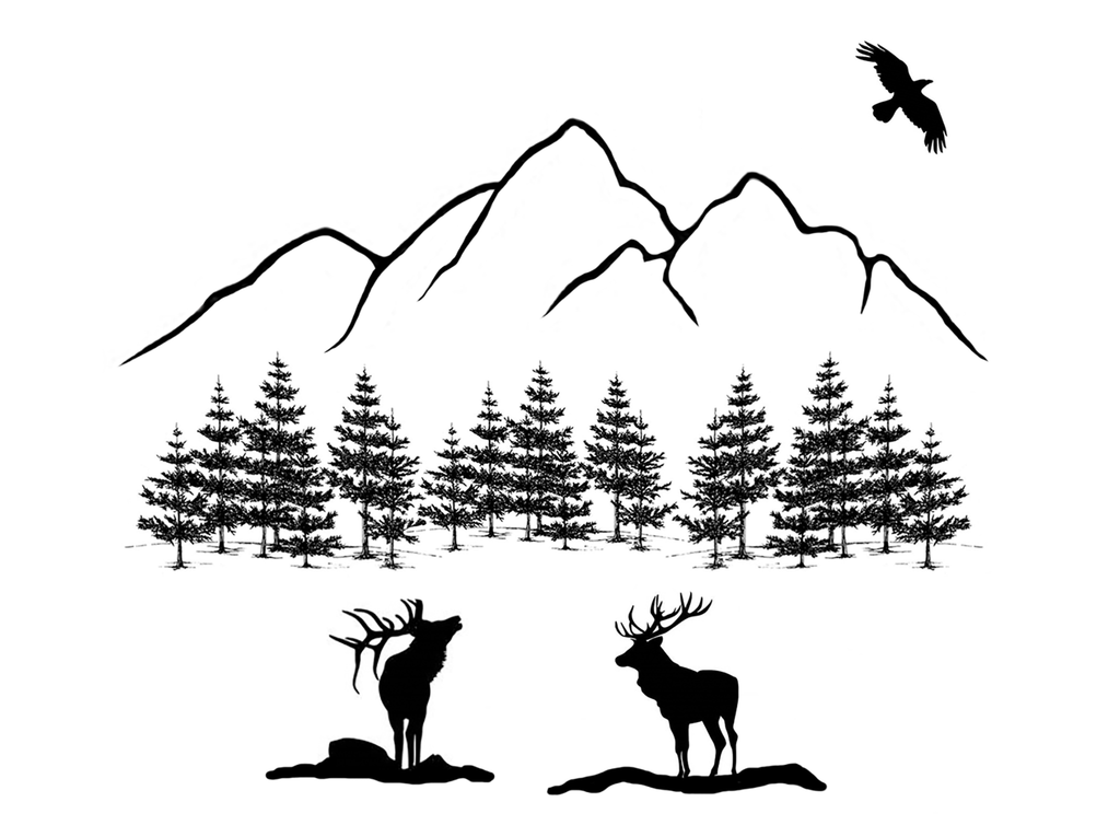 "Elk Mountain 4""   Black #539 Fused Glass Decal"