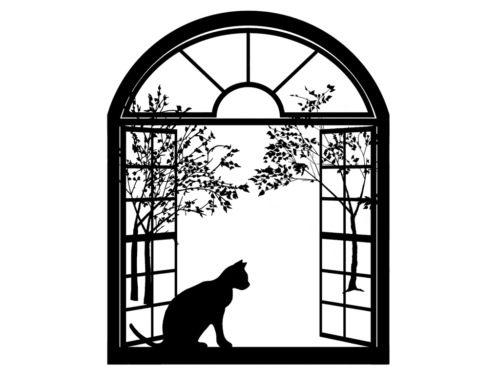 "Cat Arched Window  4""   Black #540  Fused Glass Decals"