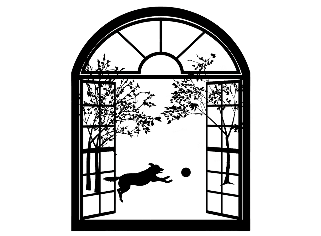 "Dog Arched Window  4"" Black #541 Fused Glass Decal"