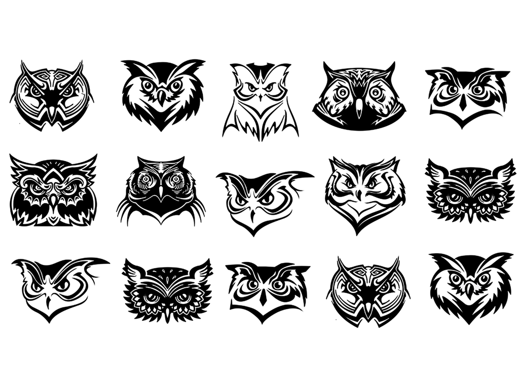 Owl Faces Black #546 Fused Glass Decals