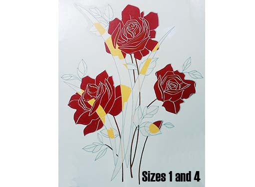 Art Deco Red Roses Silver Leaves  1674
