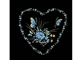 1676 White & Gold Heart Flower Butterfly