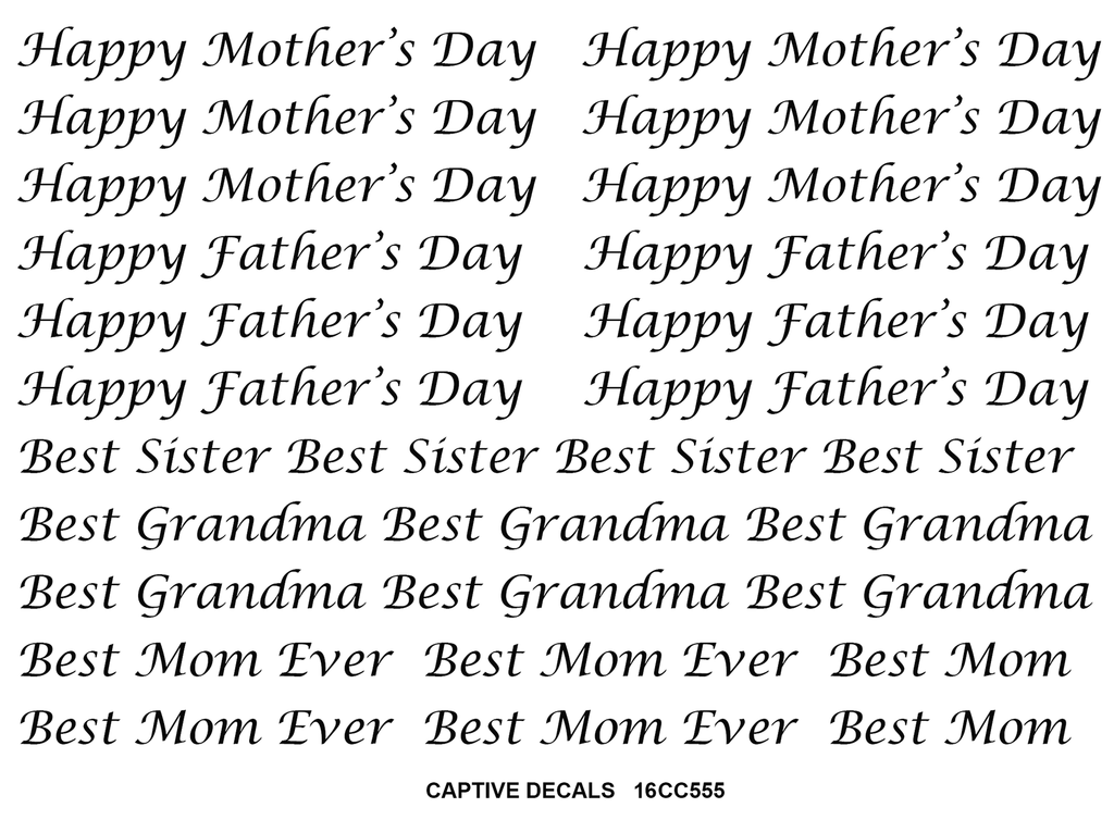 Best Mom Happy Mother's Father's Day Black #555 Fused Glass Decals