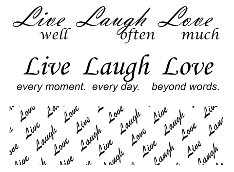 "Barrette Live Laugh Love 3 pcs 4""  Black #556 Fused Glass Decals"