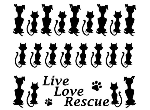"Barrette Dog Cat Rescue 3 pcs 3-1/2""  Black #558 Fused Glass Decals"