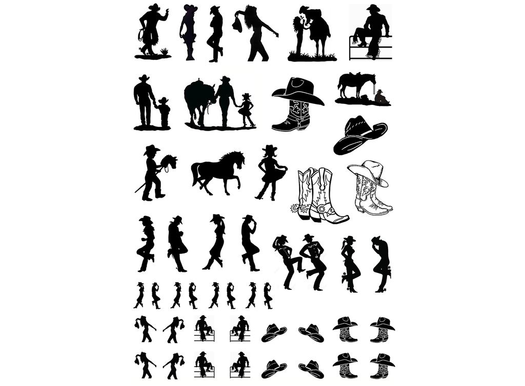Cowboys and Cowgirls  Black #565 or White #585 Fused Glass Decals