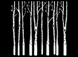 "Birch Trees   4""  Black #606 or White #575 Fused Glass Decals"
