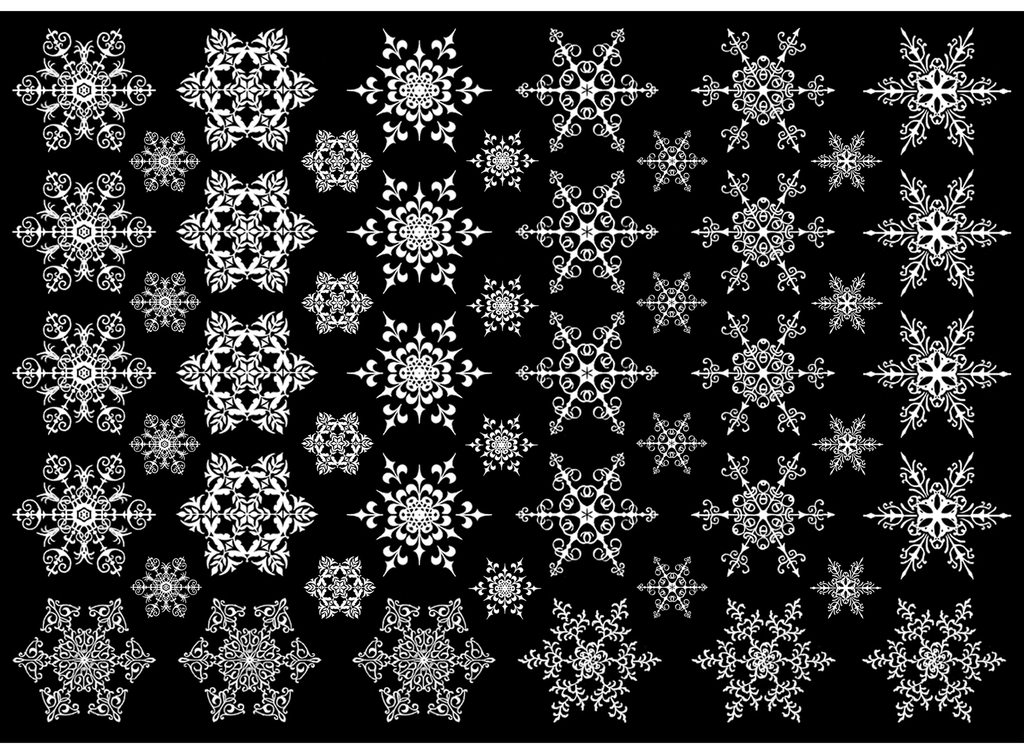 "Snowflakes  1"" and 1/2""  #580 White  Fused Glass Decals"