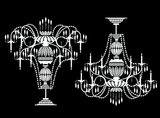 "Chandelier 2 pcs  3""     Black #568 or White #582 Fused Glass Decals"