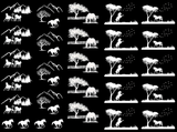 "Horse Scenes 7/8"" to 1-1/4""  Black or White Fused Glass Decals"