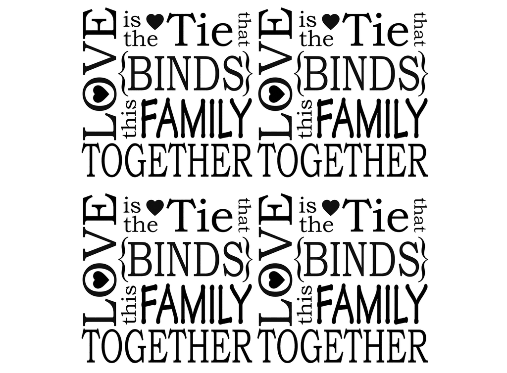 "Love is the tie that bind  4 pcs  1-3/4""  Black #631 Fused Glass Decals"