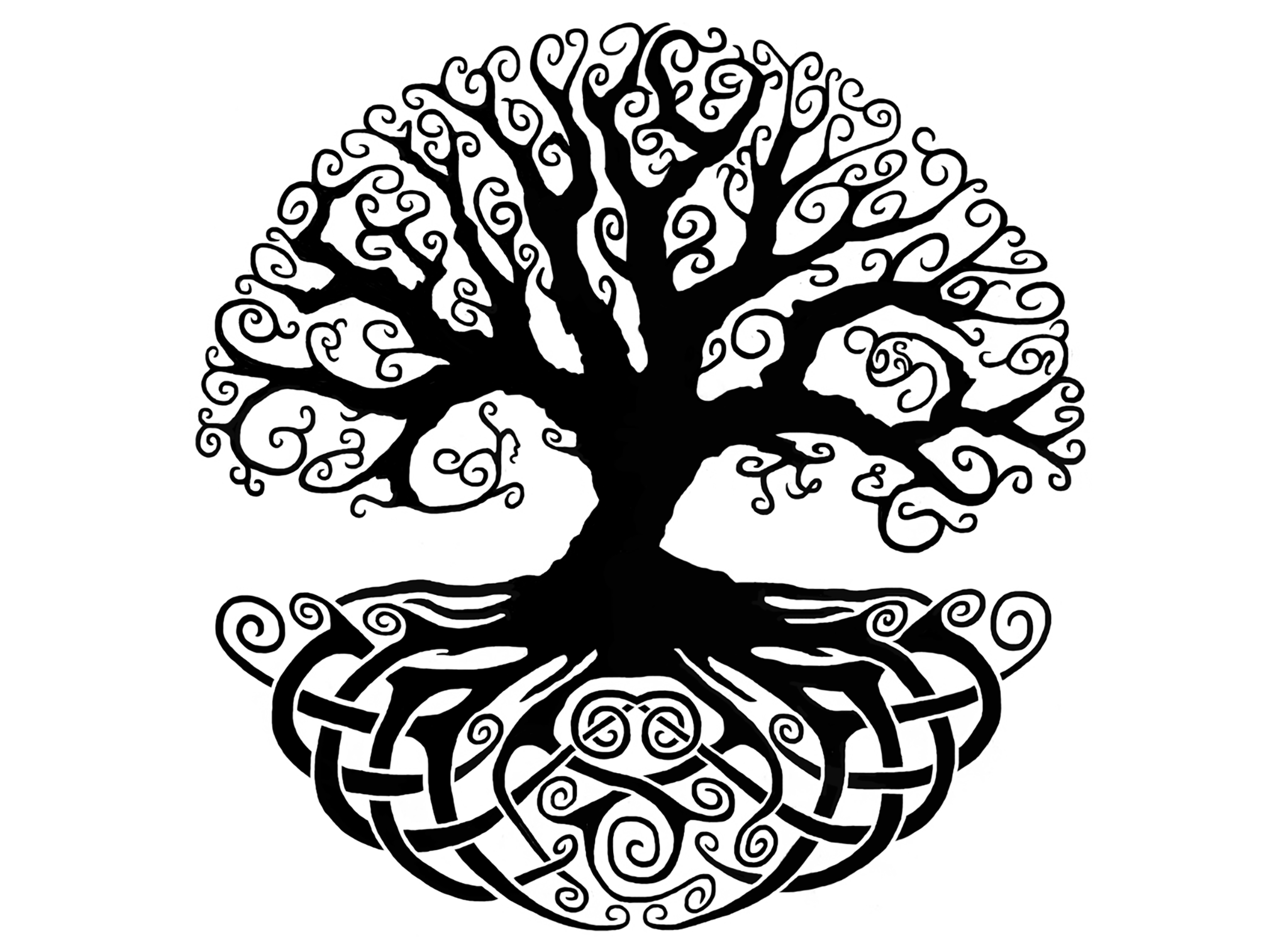 Celtic knot tree of life 4 black 636 or white 915 fused glass decal captive decals - Tatouage arbre de vie ...