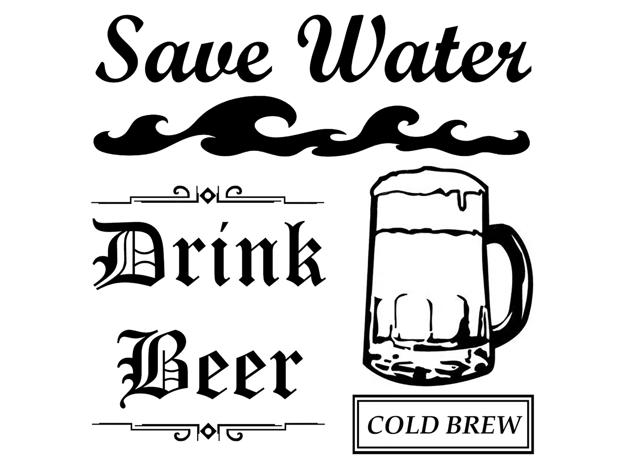 Save water 3 3 4 drink beer 640 or wine 641 fused glass decal