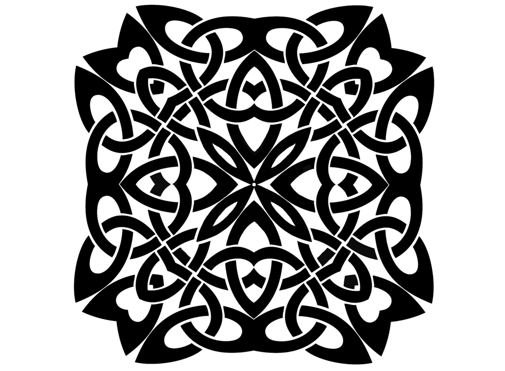 "Celtic Knot Square  4"" Black #642 Fused Glass Decal"