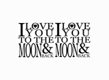 "I Love you to the moon and back  4 pcs  1-3/4"" Black #643 or White #595 Fused Glass Decals"