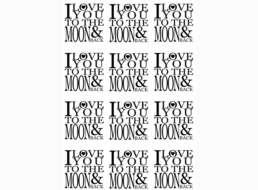 "I Love you to the Moon and Back 1""  (12 pcs)   Black #644 or White #596 Fused Glass Decals"