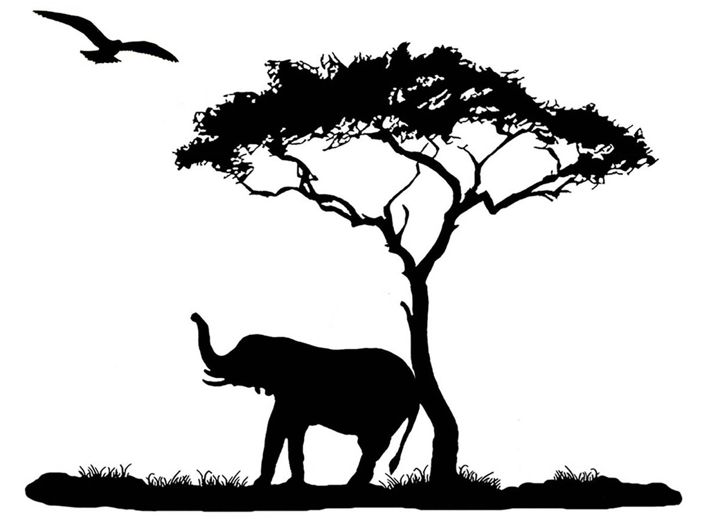 "Elephant Scratching on Tree  3-3/4""  Black #645 Fused Glass Decal"