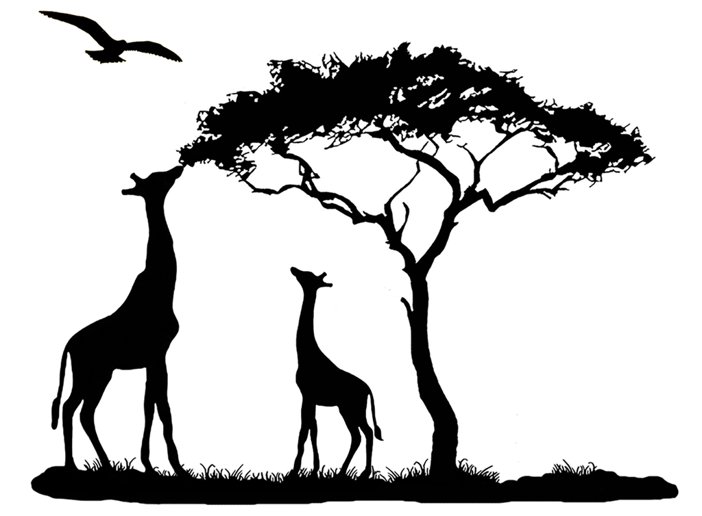 "Giraffe Mama feeding Baby 3-3/4""  Black #648 Fused Glass Decal"