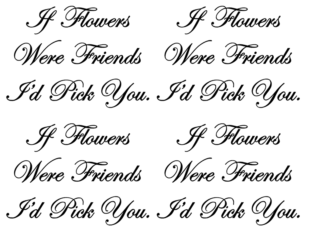 "If Flowers Were Friends  8 pcs 1-3/4""  Black #649 Fused Glass Decals"