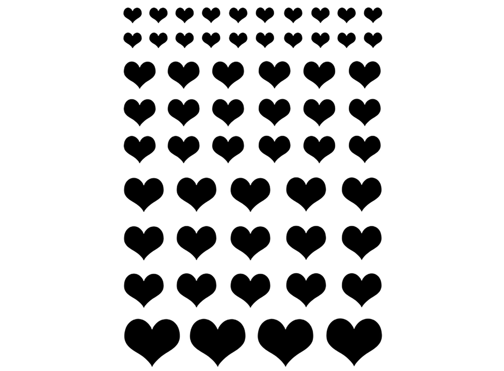 "Hearts 1/4"" to 3/4""  Black #657 or White #703 Fused Glass Decals"