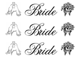 "Barrette Bride Decals 3 pcs  7/8"" tall Black #662 or White #663 Fused Glass Decals"