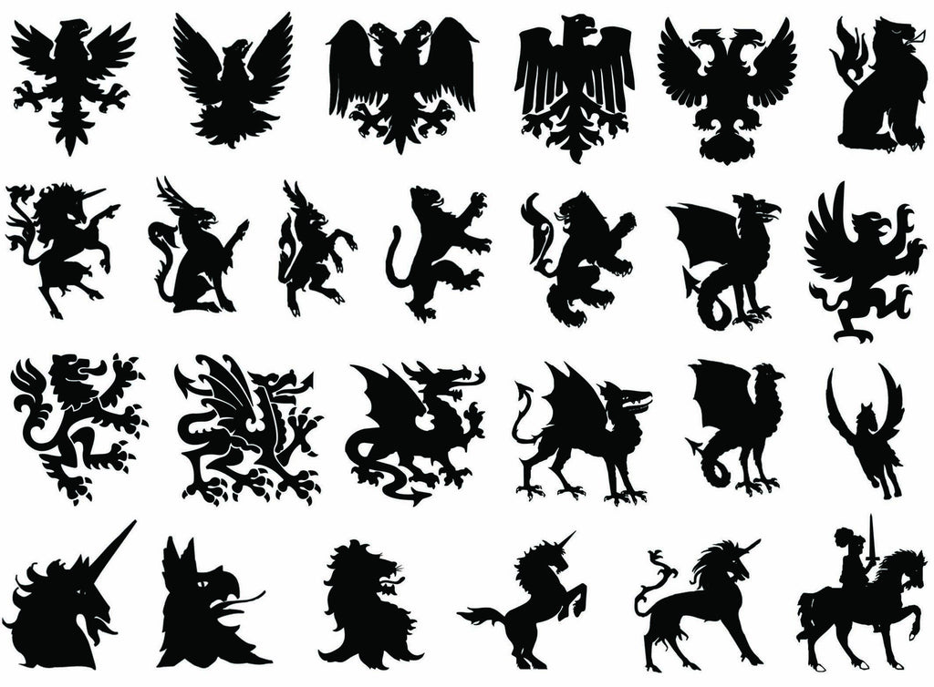 Heraldry  Black #669 Fused Glass Decals