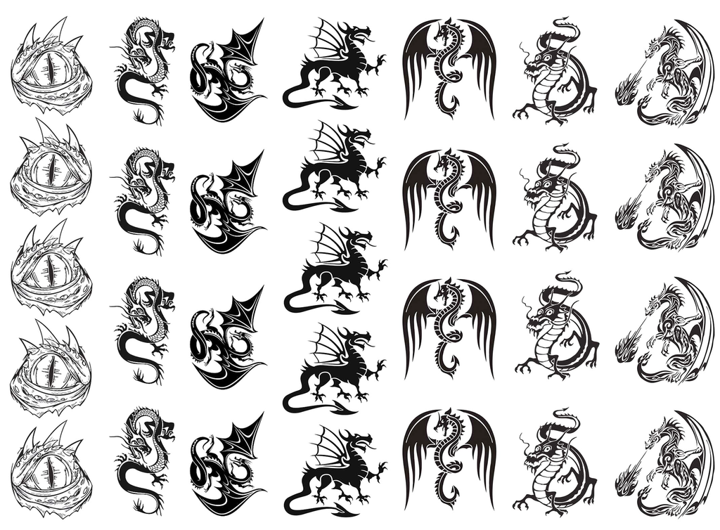 Dragon Drama  Black #687 or White #710 Fused Glass Decals