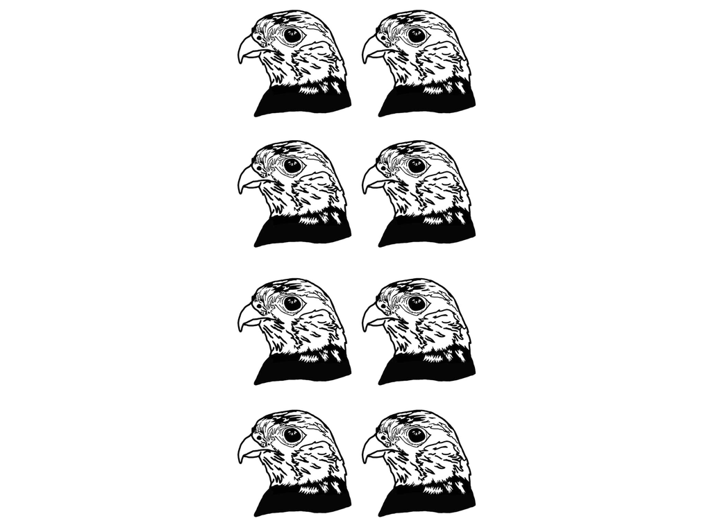 "Falcon 8 pcs 1-1/8""  Black #693 Fused Glass Decals"