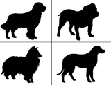 "Dogs (2 pcs) Select-A-Breed 2""  Black Fused Glass Decals"