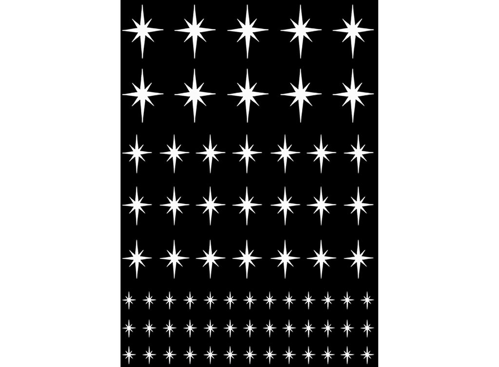 "Stars Twinkling 5"" X 3.5"" Card White #708 Fused Glass Decals"