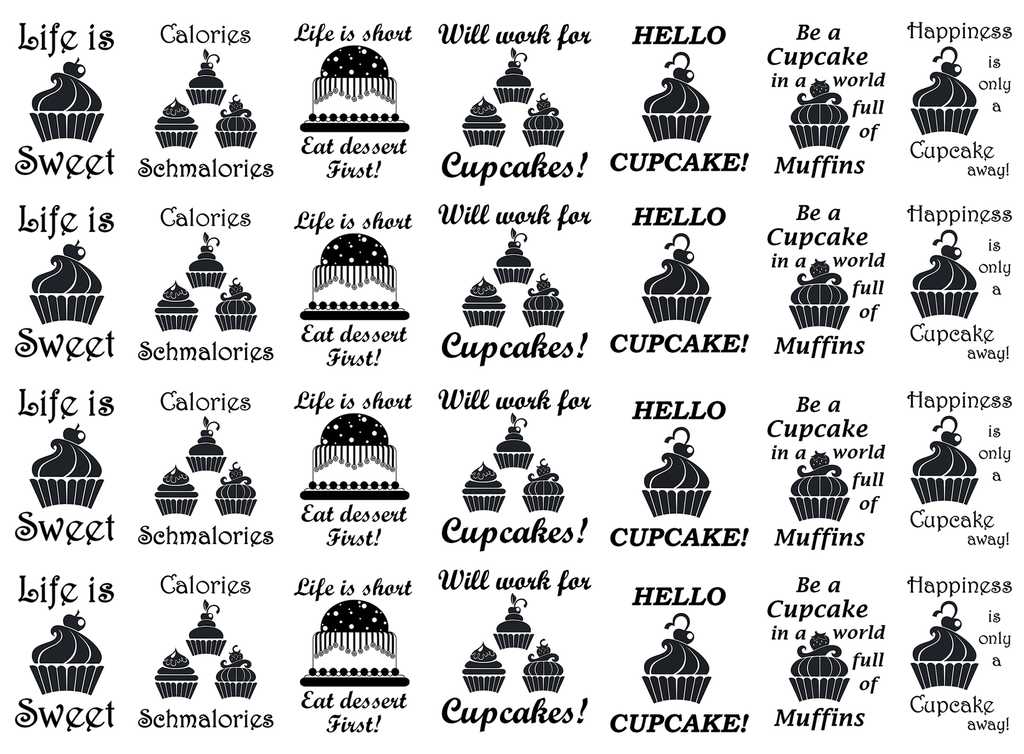 Just Desserts Cupcake Black #722 Fused Glass Decals