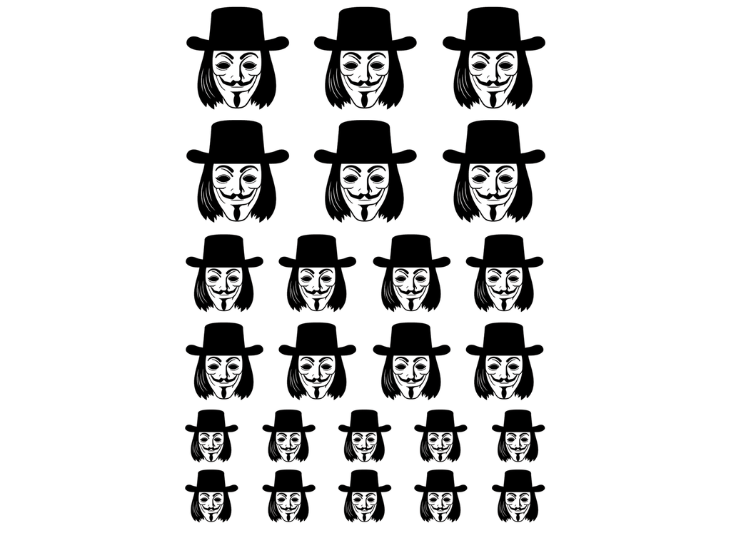 "Guy Fawkes 1/2"" to 1""  Black #723 Fused Glass Decals"