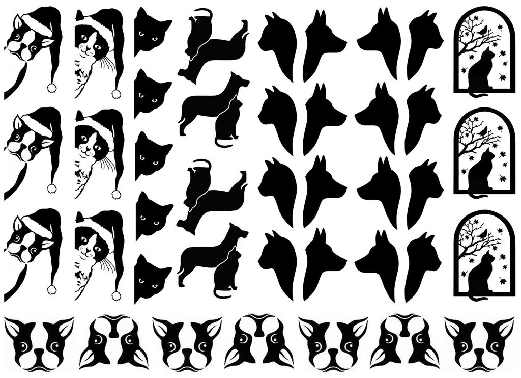 Paw-Pourri Cats and Dogs Black #725 Fused Glass Decals