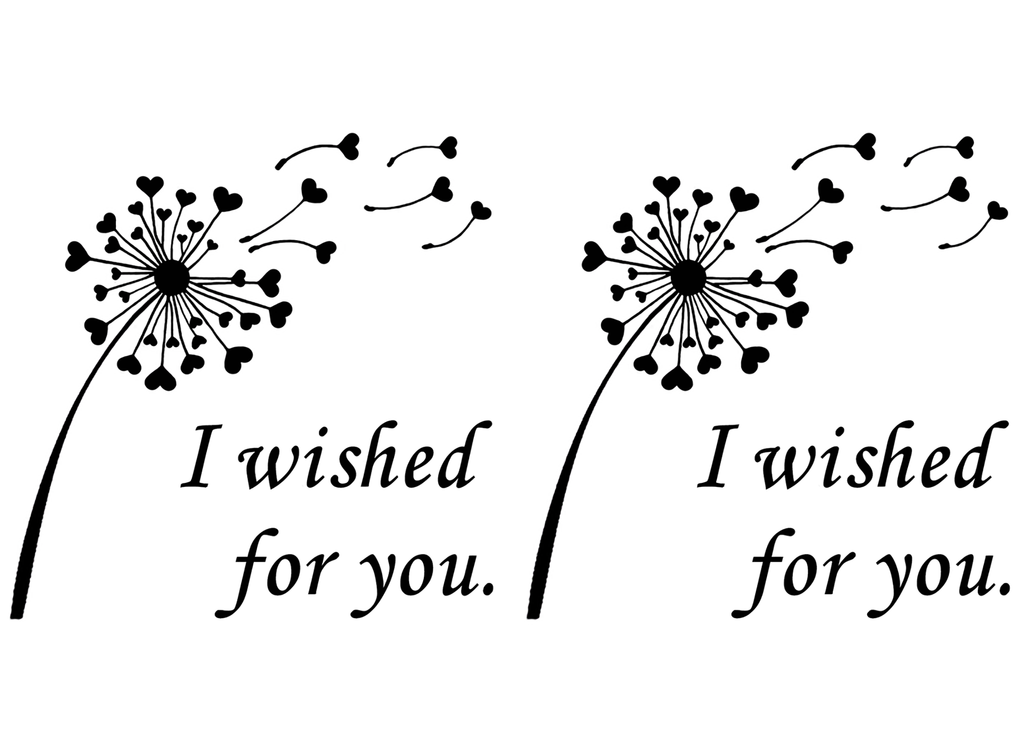 "Dandelion I Wished for You 2-1/2""  Black #731 Fused Glass Decals"