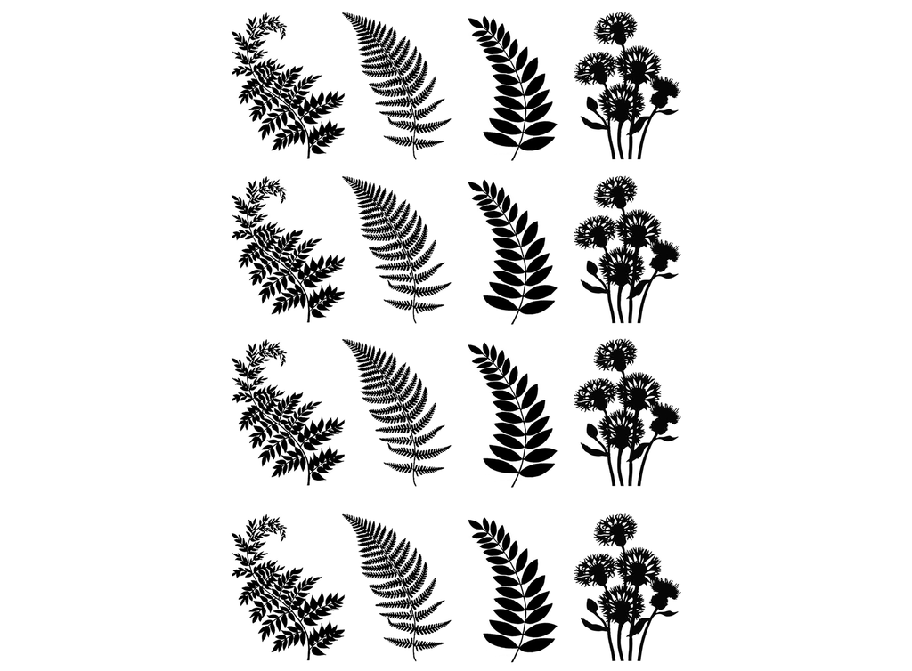 "Fern Fronds 1-1/8""  Black #739 or White #751 Fused Glass Decals"