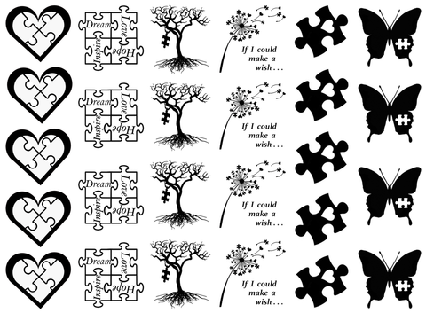 Autism Awareness  Black #758 or White #747 Fused Glass Decals