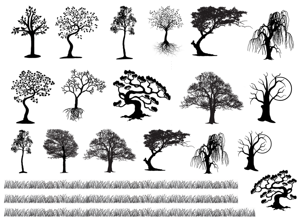 Tree Variety Grass Strips  Black #764 Fused Glass Decals