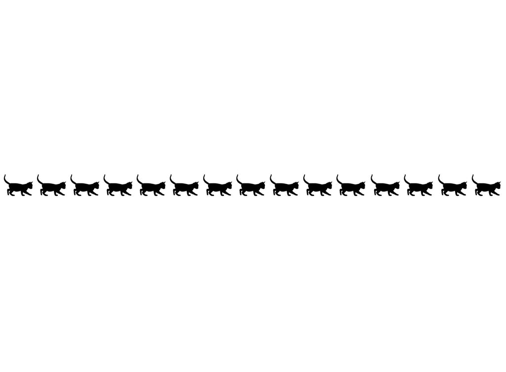 "Kitty Cat Border  2 strips  10-1/2""  Black #809 Fused Glass Decals"