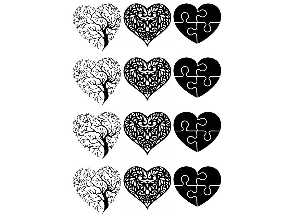 Heart Art  Black #819 Fused Glass Decals