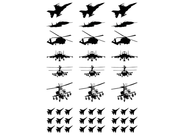Military Aircraft Black #820 Fused Glass Decals
