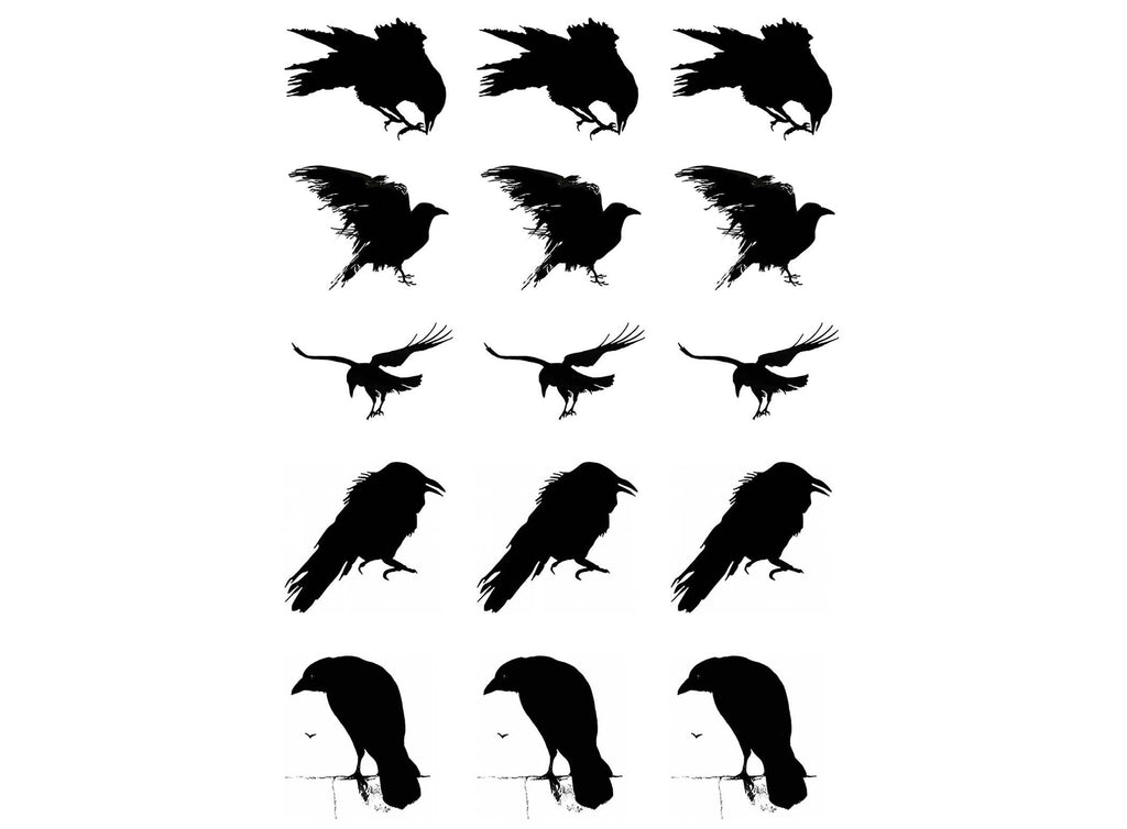Murder of Crows  Black #821 Fused Glass Decals